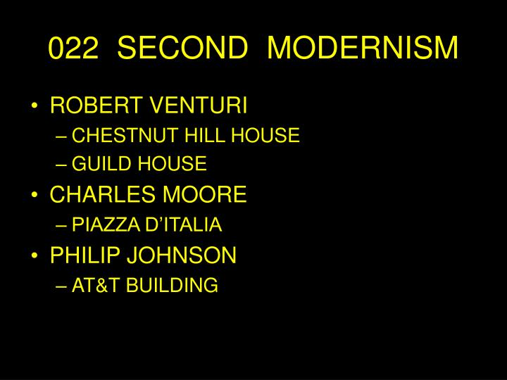 022 second modernism n.