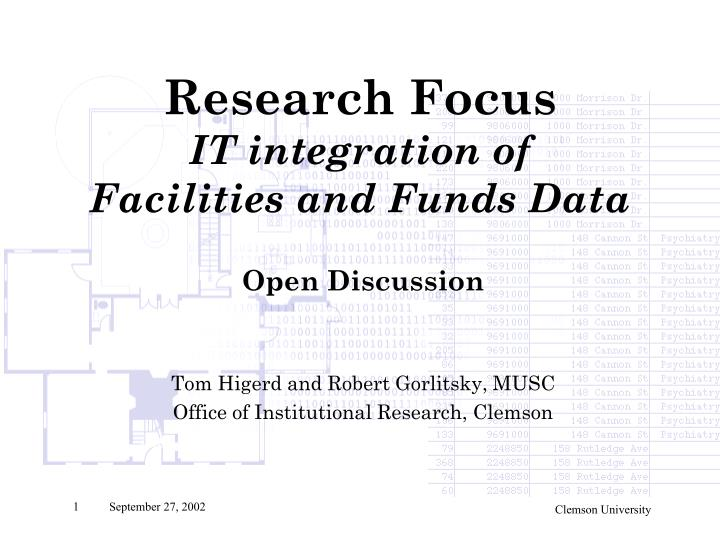 research focus it integration of facilities and funds data n.