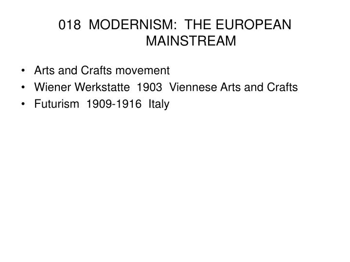 018 modernism the european mainstream n.