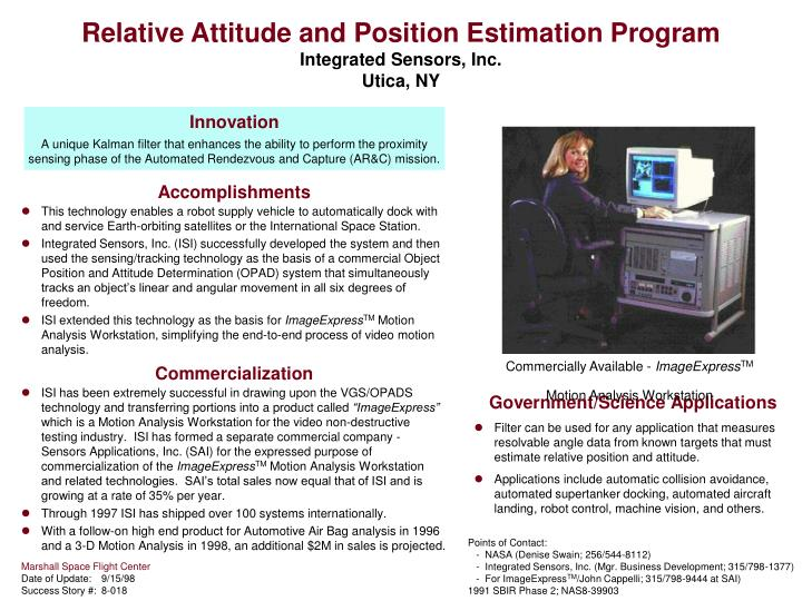 relative attitude and position estimation program integrated sensors inc utica ny n.