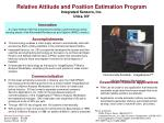 relative attitude and position estimation program integrated sensors inc utica ny