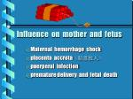 influence on mother and fetus
