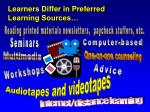 learners differ in preferred learning sources