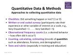 quantitative data methods approaches to collecting quantitative data