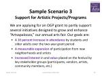 sample scenario 3 support for artistic projects programs
