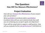 the question how will you measure effectiveness