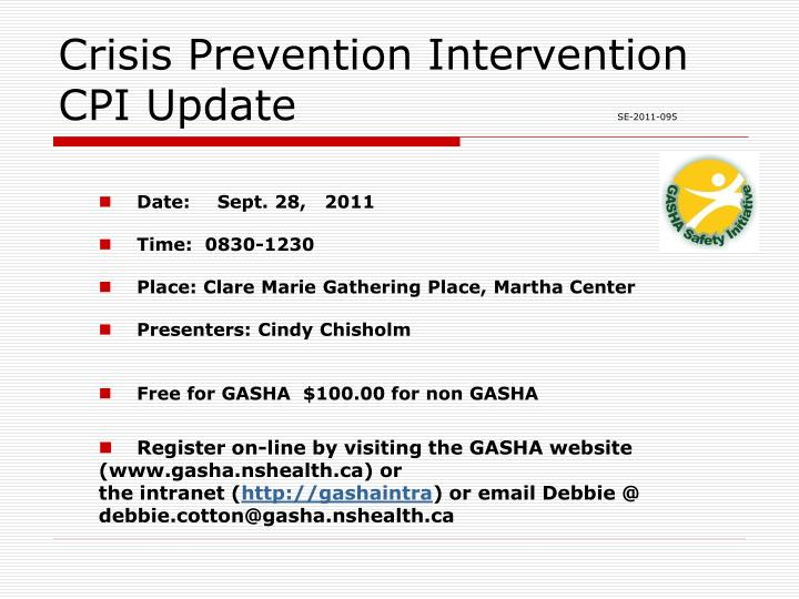 crisis prevention intervention cpi update se 2011 095 n.