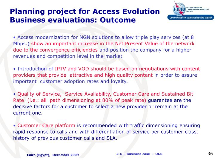 Planning project for Access Evolution Business evaluations: Outcome