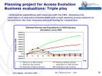 planning project for access evolution business evaluations triple play4