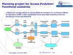 planning project for access evolution functional scenarios