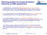 planning project for access evolution outcome on osp assessment