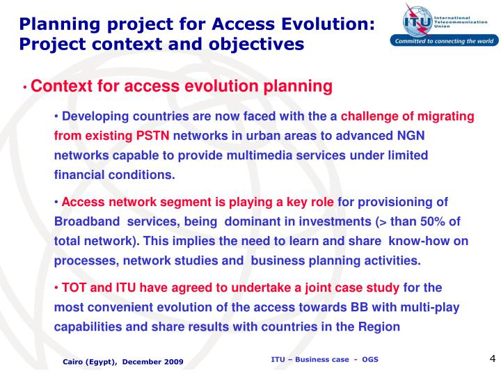 Planning project for Access Evolution: Project context and objectives