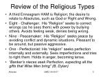 review of the religious types