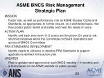 asme bncs risk management strategic plan
