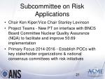 subcommittee on risk applications