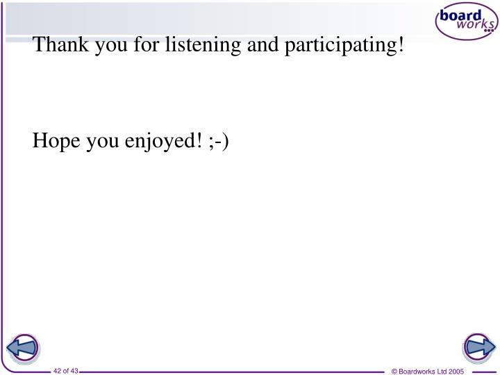 Thank you for listening and participating!