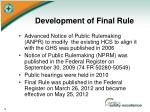 development of final rule