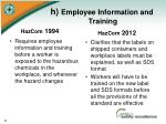 h employee information and training