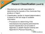 hazard classification cont d