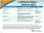 j effective dates hazcom 2012