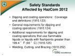safety standards affected by hazcom 20121