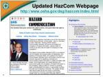 updated hazcom webpage http www osha gov dsg hazcom index html