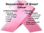 reoccurrences of breast cancer