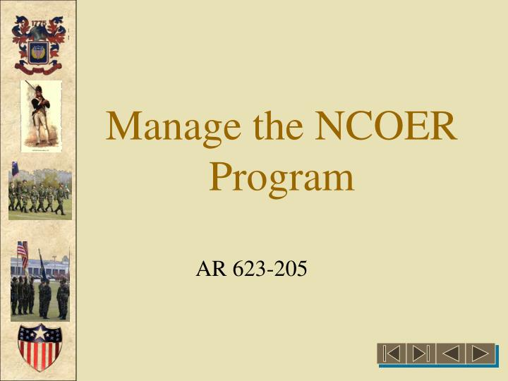 manage the ncoer program n.