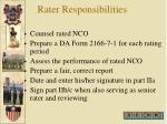 rater responsibilities