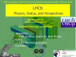 lhcb physics status and perspectives