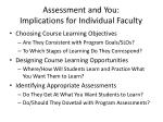 assessment and you implications for individual faculty