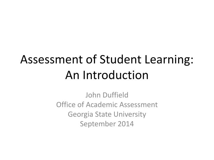 assessment of student learning an introduction n.