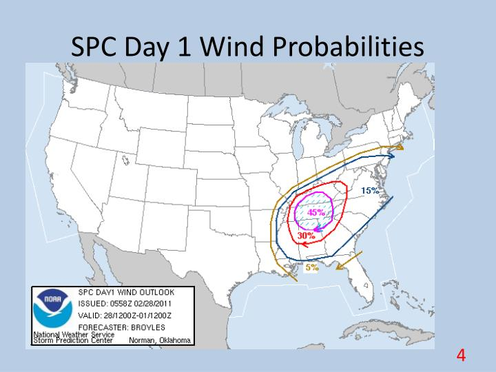SPC Day 1 Wind Probabilities