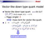 vector like down type quark model