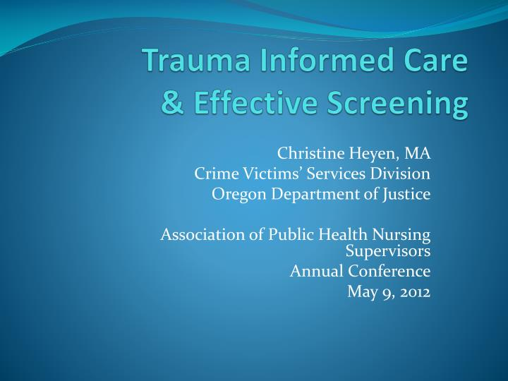 trauma informed care effective screening n.