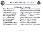 comments for ams 02 d 015