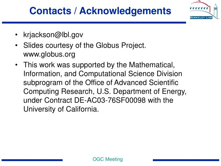 Contacts / Acknowledgements
