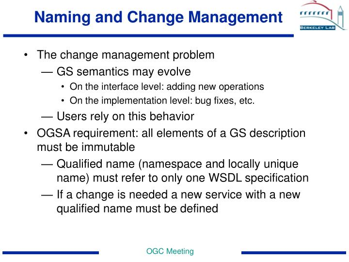 Naming and Change Management