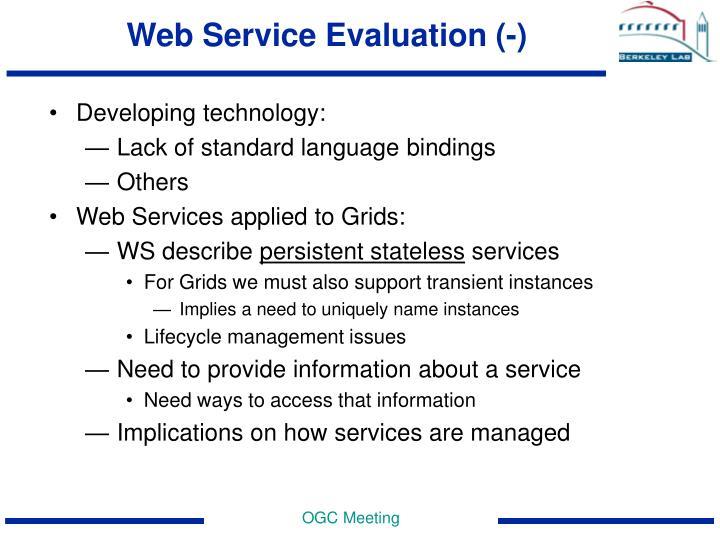 Web Service Evaluation (-)