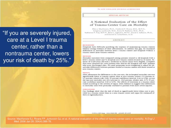 """""""If you are severely injured, care at a Level I trauma center, rather than a nontrauma center, lowers your risk of death by 25%."""""""