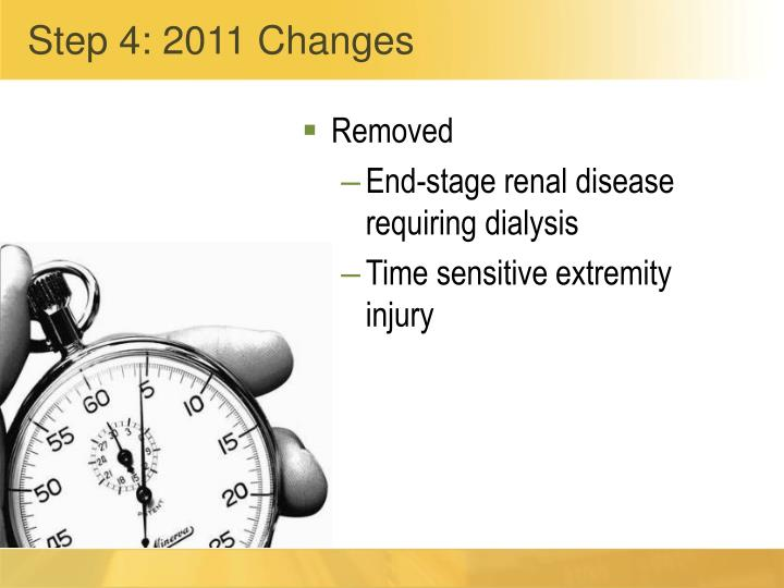 Step 4: 2011 Changes