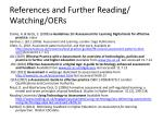 references and further reading watching oers