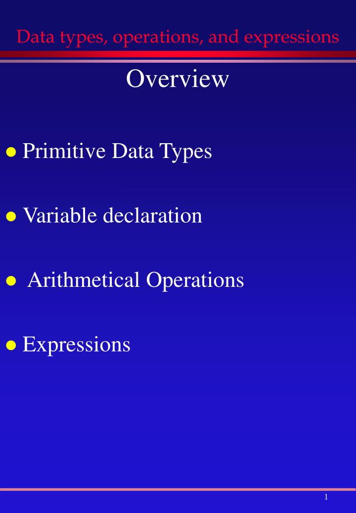 data types operations and expressions n.