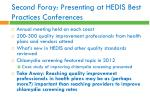 second foray presenting at hedis best practices conferences