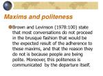 maxims and politeness