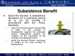 subsistence benefit