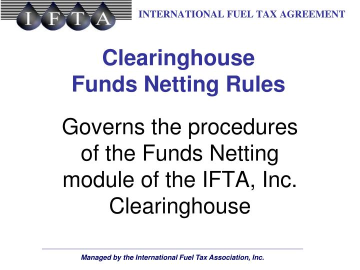 clearinghouse funds netting rules n.
