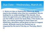 due date wednesday march 26