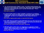 rfc comments draft community standard ese rfc 008