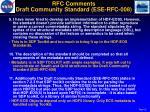 rfc comments draft community standard ese rfc 0082